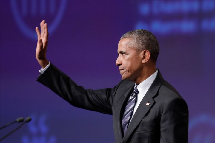 "Former President Barack Obama gives a speech at the Montreal Chamber of Commerce on June 6. ""Former presidents likely transce"