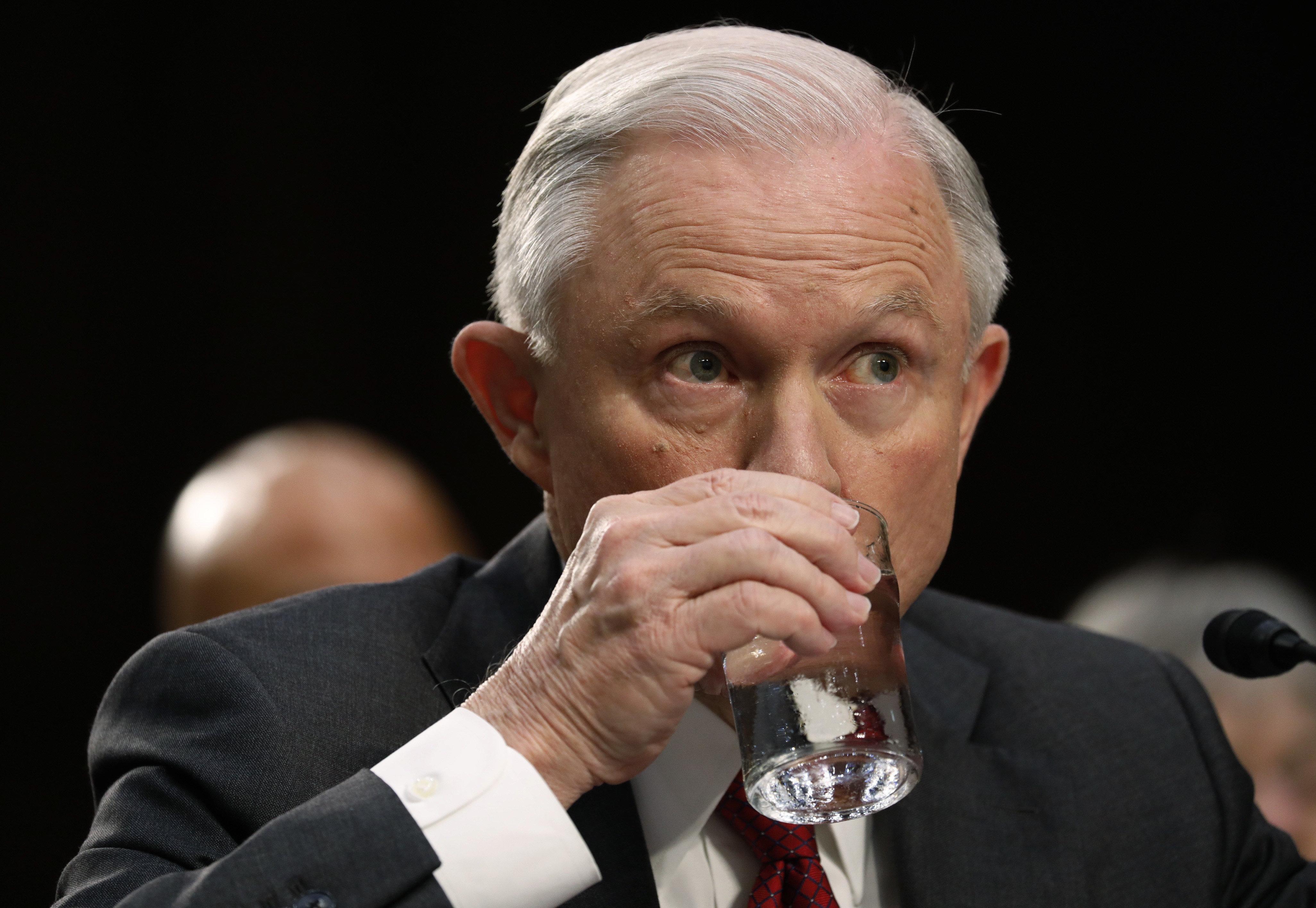 U.S. Attorney General Jeff Sessions testifies before a Senate Intelligence Committee hearing on Capitol Hill in Washington, U.S., June 13, 2017. REUTERS/Aaron P. Bernstein