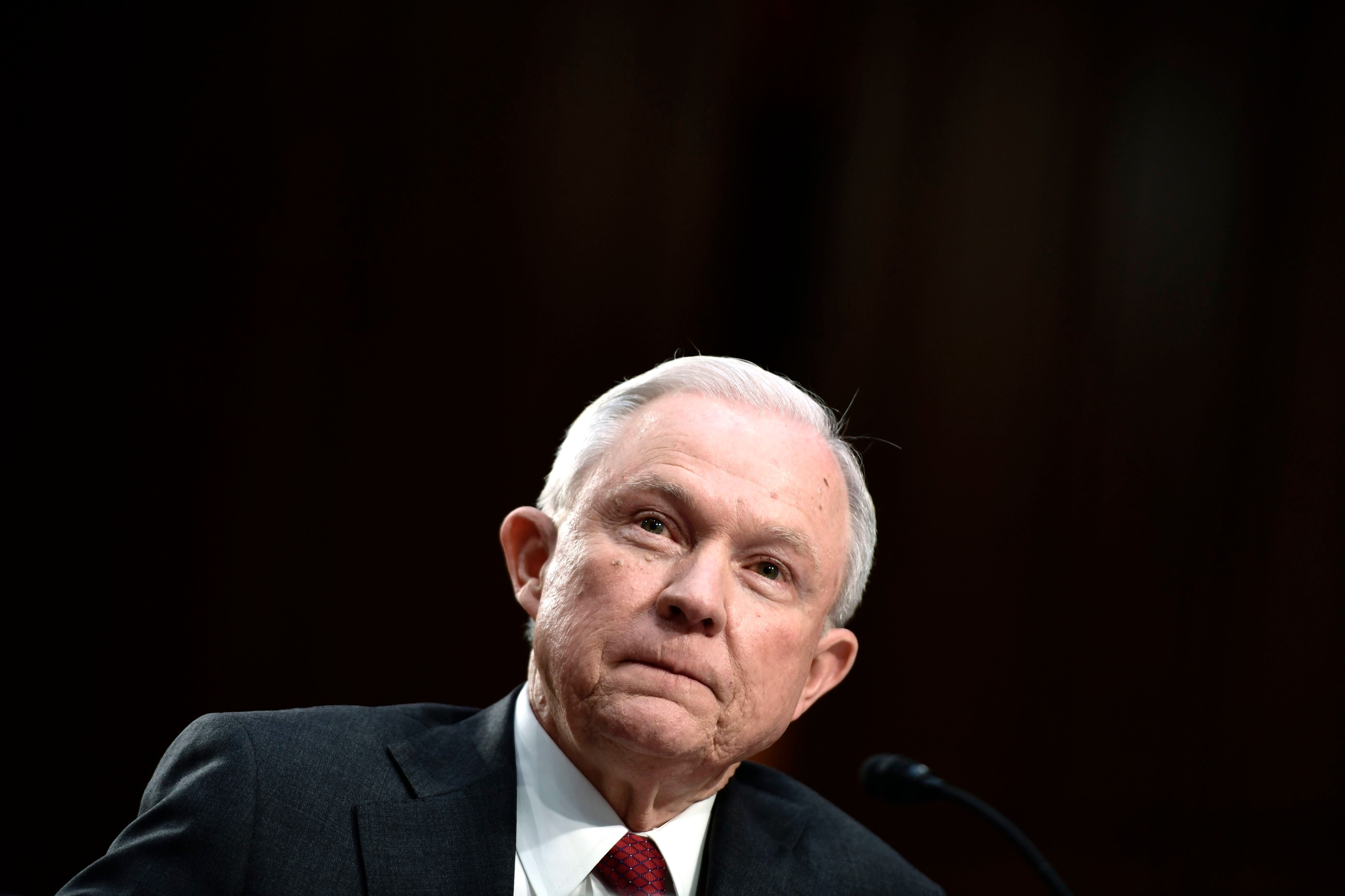 Attorney General Jeff Sessions testifies during a US Senate Select Committee on Intelligence hearing on Capitol Hill in Washington, DC, June 13, 2017. US Attorney General Jeff Sessions vehemently denied Tuesday that he colluded with an alleged Russian bid to tilt the 2016 presidential election in Donald Trump's favor. / AFP PHOTO / Brendan Smialowski        (Photo credit should read BRENDAN SMIALOWSKI/AFP/Getty Images)