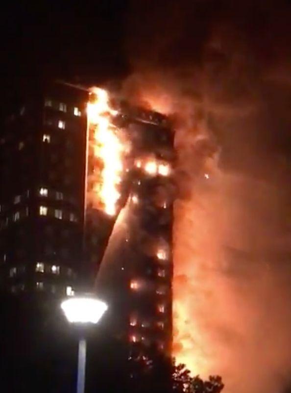 Horrifying Images Show London High-Rise Bursting Into