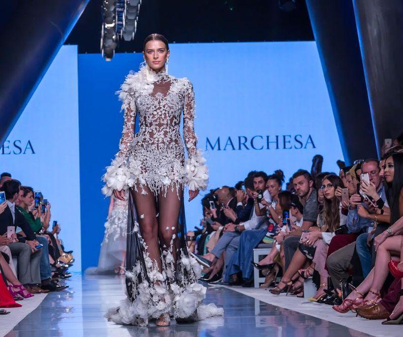Model wearing Marchesa