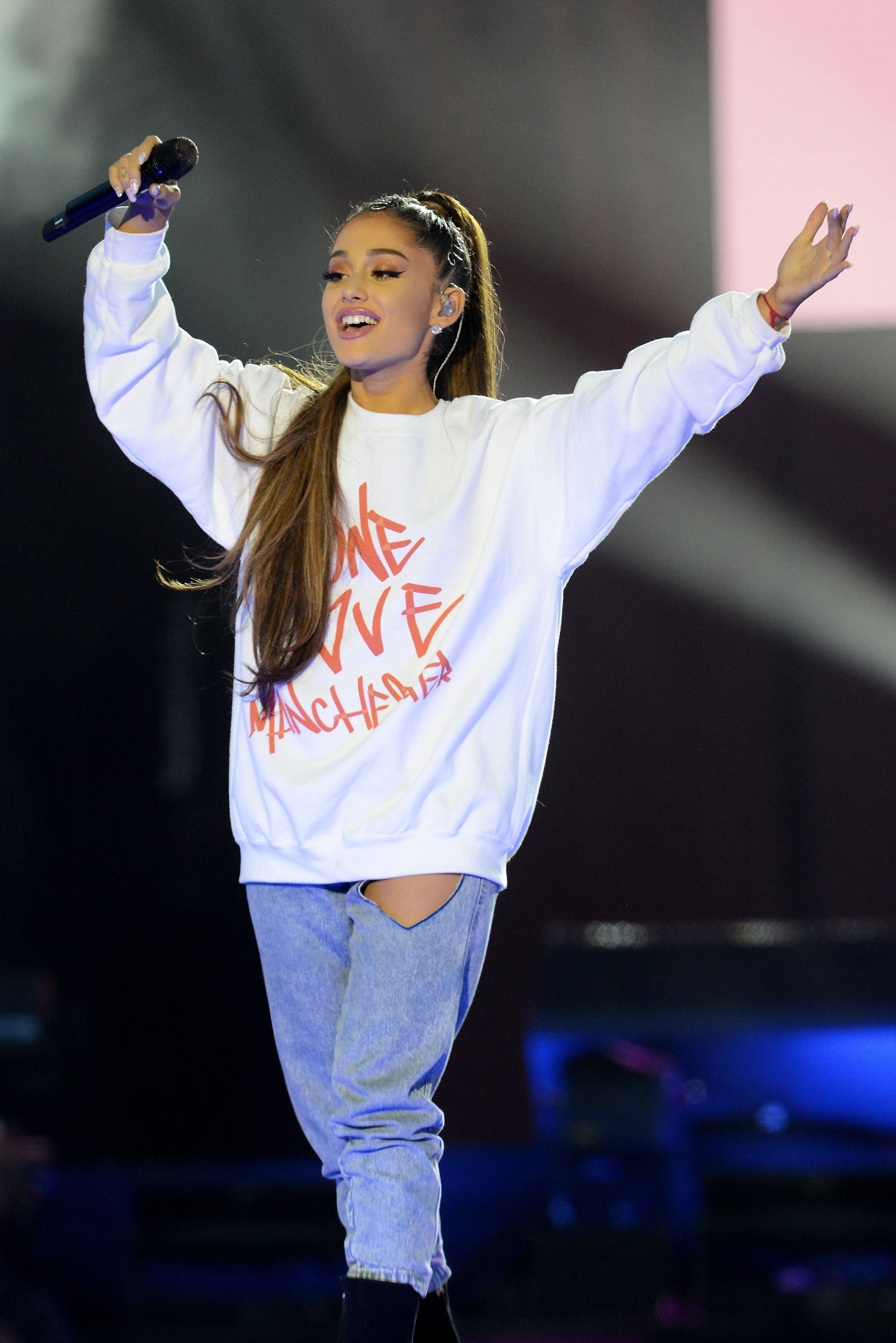 Ariana Grande at the One Love Manchester concert last