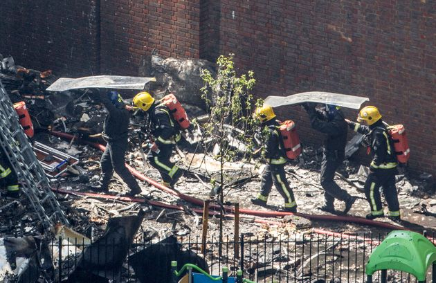 Fire crews at the scene of the blaze on Wednesday