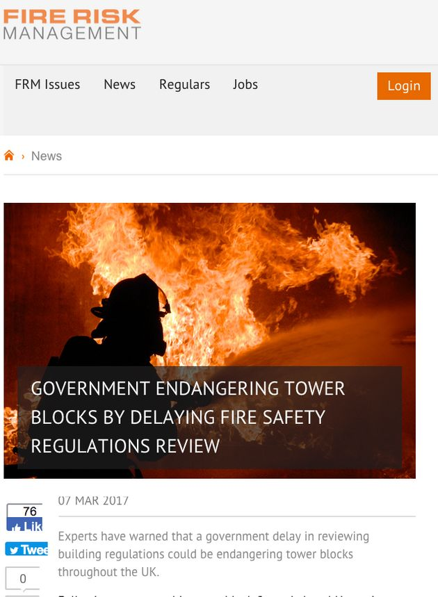 An article from the Fire Protection Agency warning about the dangers of tower block fires in March