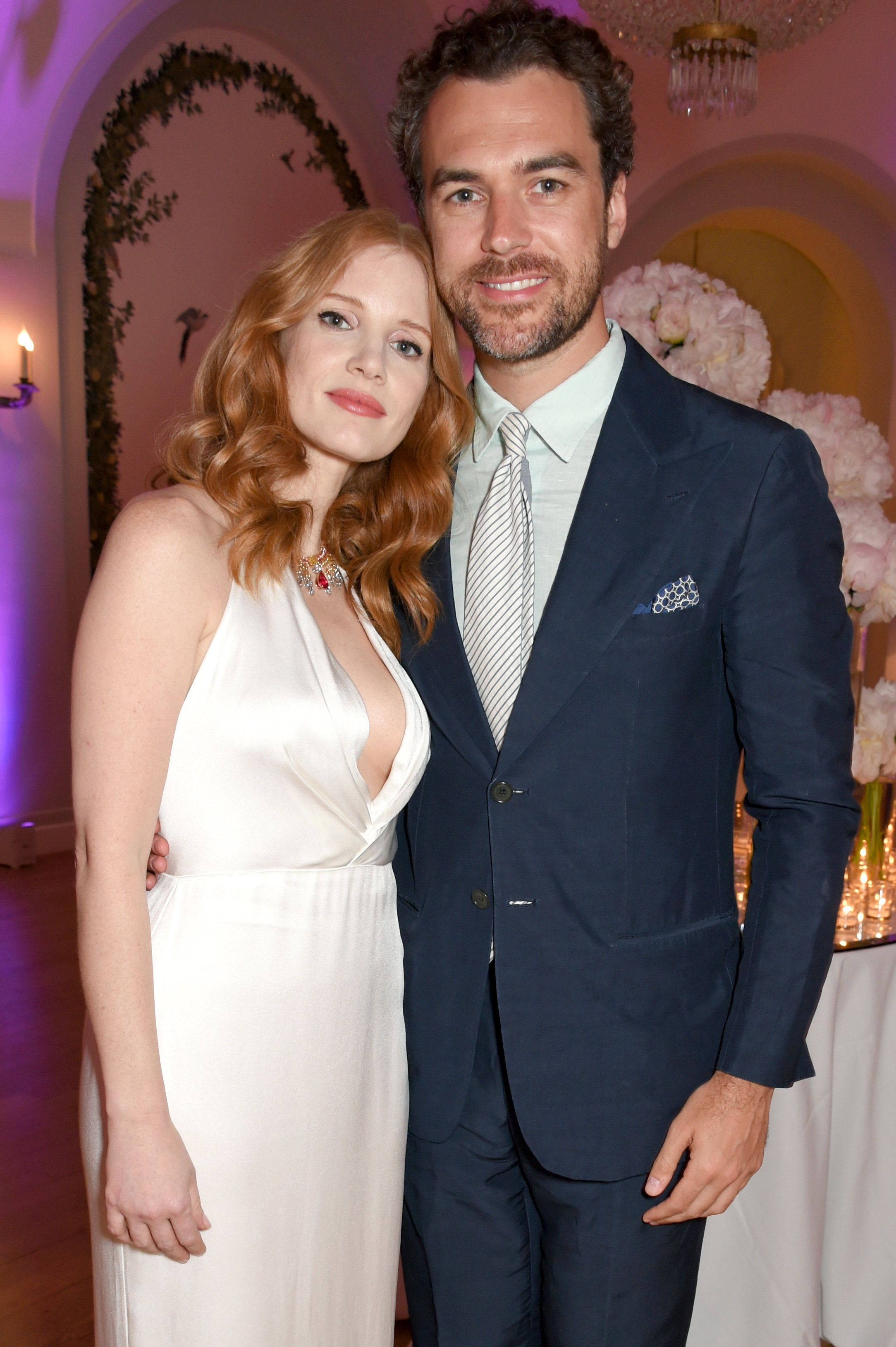 CAP D'ANTIBES, FRANCE - MAY 20:  Jessica Chastain (L) and Gian Luca Passi de Preposulo attend the Vanity Fair and HBO Dinner celebrating the Cannes Film Festival at Hotel du Cap-Eden-Roc on May 20, 2017 in Cap d'Antibes, France.  (Photo by David M Benett/Dave Benett / Getty Images for Vanity Fair)