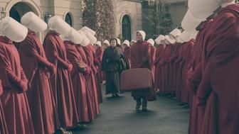"The Handmaid's Tale  -- ""The Bridge"" Episode 109 --  Offred embarks on a dangerous mission for the resistance. Janine moves to a new posting.  Serena Joy suspects the Commander�s infidelity. Aunt Lydia (Ann Dowd) and Janine (Madeline Brewer), shown. (Photo by: George Kraychyk/Hulu)"