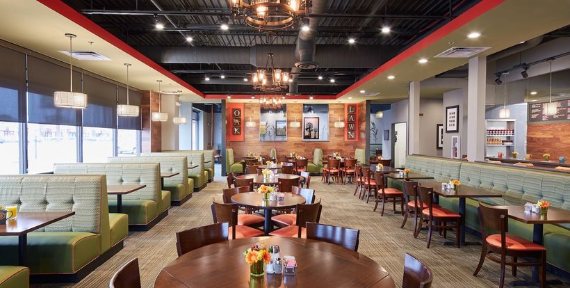 Thanks to astute interior design, a new Original Pancake House is a meeting spot for family dinners and community meetings an