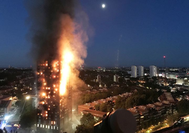 The Grenfell Tower apartment complex in London was engulfed in flames early on Wednesday.