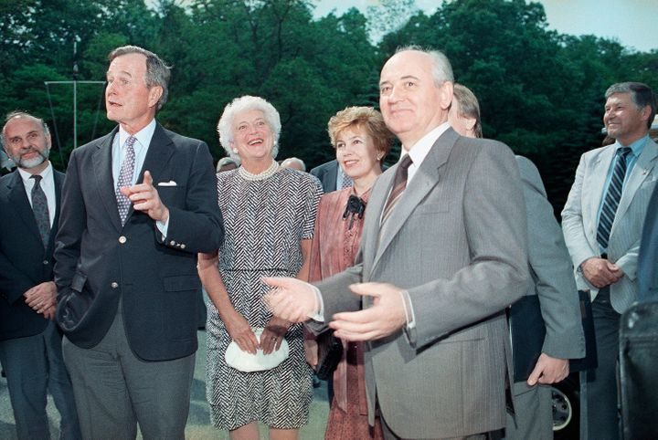 Bush with Soviet President Mikhail Gorbachev at Camp David on June 2, 1990.