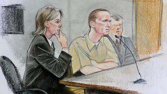 Jared Loughner (C) is shown in a courtroom sketch sitting with his attorney Judy Clark (L) during his hearing  in federal court in Tucson, Arizona, August 7, 2012. Loughner  pleaded guilty to killing six people and wounding 13 others, including then-U.S. congresswoman Gabrielle Giffords, in an Arizona shooting rampage last year, and will be spared the death penalty in exchange. REUTERS/Maggie Keane (UNITED STATES - Tags: CRIME LAW)