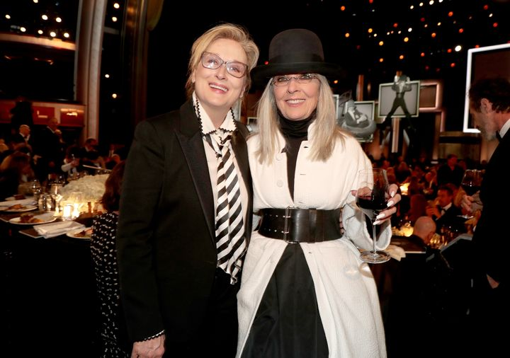 Meryl Streep and honoree Diane Keaton onstage during American Film Institute's 45th Life Achievement Award Gala Tribute to Di