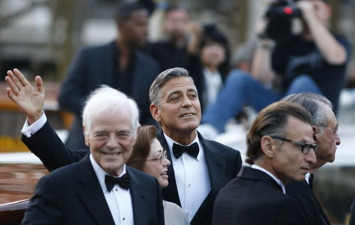 Nick and George Clooney enjoy some pre-wedding celebrations.