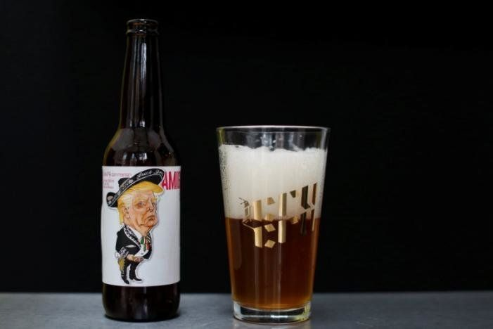 A bottle of beer named Amigous with an image of US President Donald Trump is pictured at the Cru Cru brewery in Mexico City Mexico