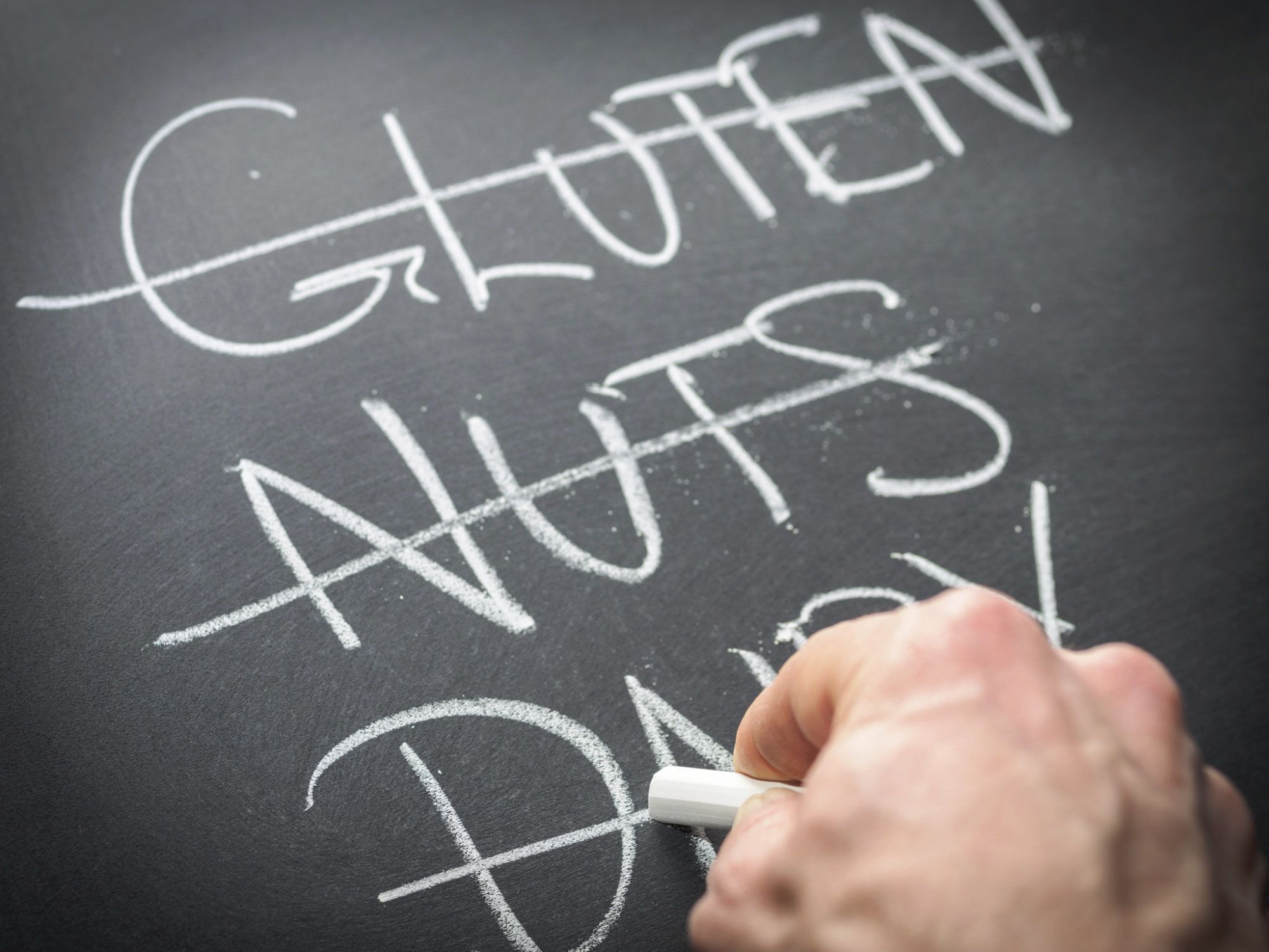Diet and nutrition concept - eliminating problem foods concept with hand writing on blackboard