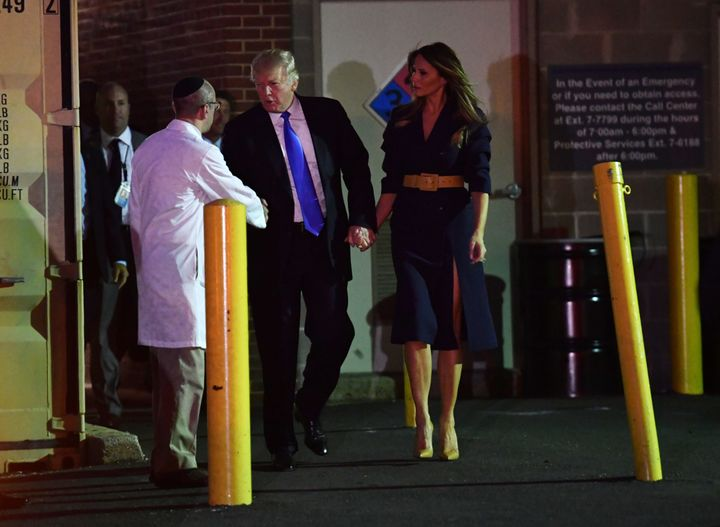 President Donald Trump and first lady Melania Trump visit House Majority Whip Steve Scalise in the hospital late Wednesday. T