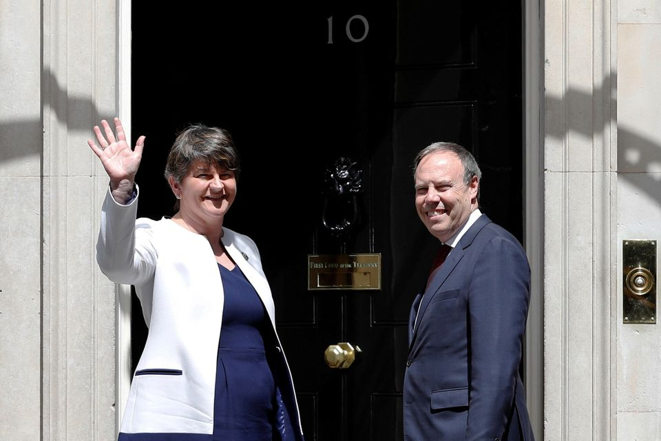 DUP leader Arlene Foster and the party's Westminster leader Nigel Dodds held talks about the deal at...