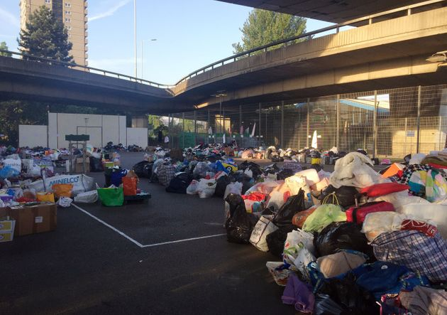 Tennis courts at the Westway Sports Centre close to the scene which are overflowing with donated