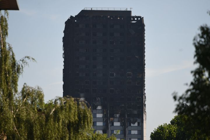The scorched remains of Grenfell Tower on Thursday morning