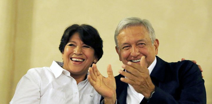 Andres Manuel Lopez Obrador (AMLO), right, with Delfina Gomez of his MORENA party. Gómez narrowly lost the Mexico State gover
