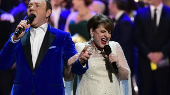 NEW YORK - JUNE 11: Kevin Spacey and Patti LuPone at THE 71st ANNUAL TONY AWARDS broadcast live from Radio City Music Hall in New York City on Sunday, June 11, 2017 (8:00-11:00 PM, live ET/delayed PT) on the CBS Television Network. (Photo by John Paul Filo/CBS via Getty Images)