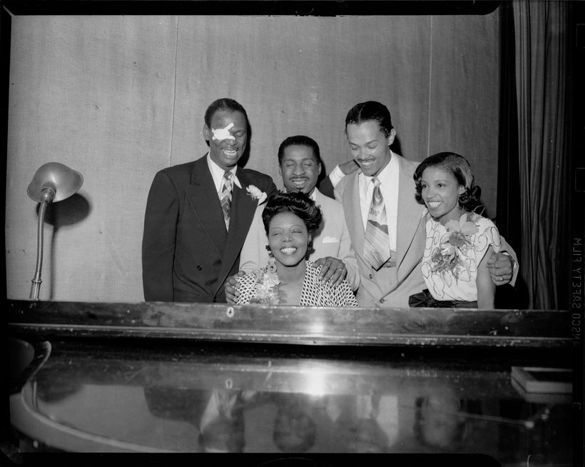 "Earl ""Fatha"" Hines, Erroll Garner, Billy Eckstine, Maxine Sullivan, and Mary Lou Williams at piano in Syria Mosque for Night"