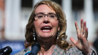 BOSTON - OCTOBER 14: Congresswoman Gabrielle Giffords addresses a crowd during a rally for gun reforms on Boston Common  on Oct. 14, 2016. (Photo by John Tlumacki/The Boston Globe via Getty Images)