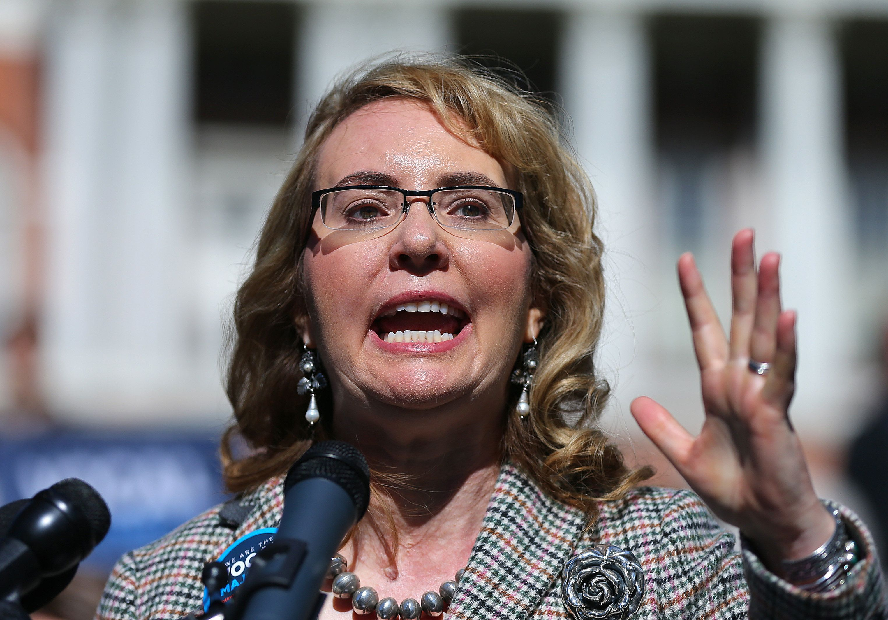 BOSTON   OCTOBER 14: Congresswoman Gabrielle Giffords Addresses A Crowd  During A Rally For Gun