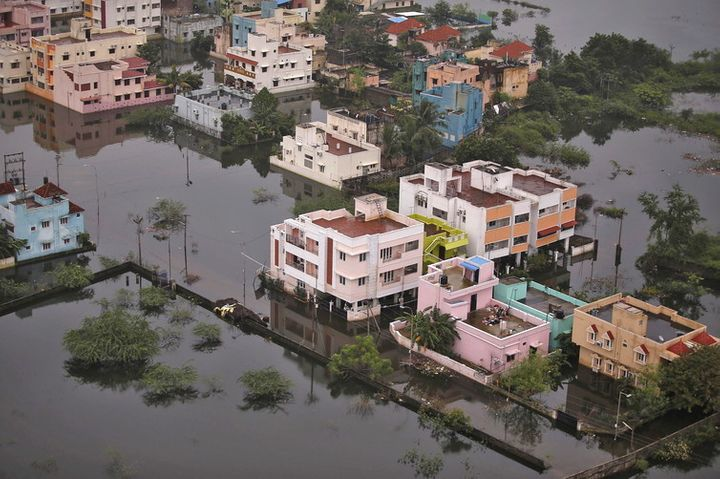 An aerial view shows a flooded residential colony in Chennai on December 6 2015.