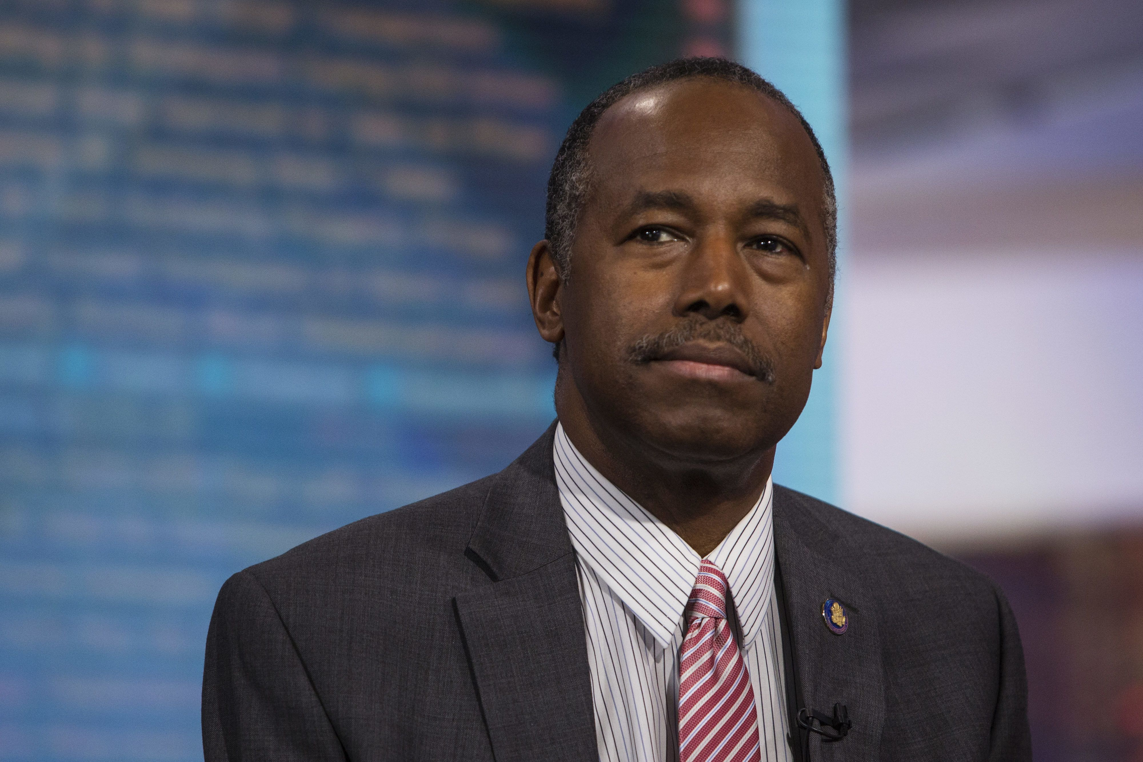 Ben Carson, secretary of Housing and Urban Development (HUD), listens during a Bloomberg Television interview in New York, U.S., on Tuesday, June 13, 2017. Carson discussed ideas being developed to open up home ownership in the United States with a focus on millennials burdened with student debt. Photographer: Victor J. Blue/Bloomberg via Getty Images