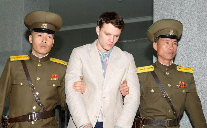 Otto Frederick Warmbier is taken to North Korea's top court in Pyongyang, North Korea, in this photo released by Kyodo March