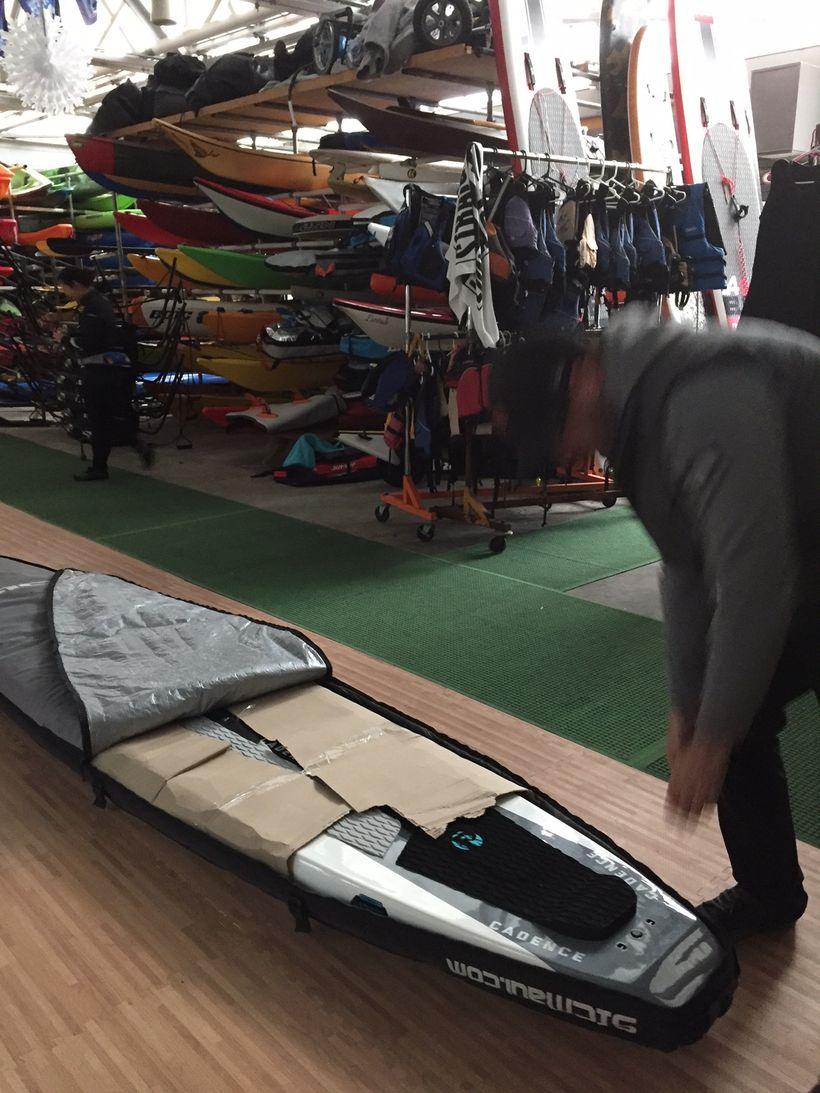 Eddie Miller, Owner SUP Runner, delivering Pau Hana Cadence RT SUP, Pier 84 Boathouse, NYC
