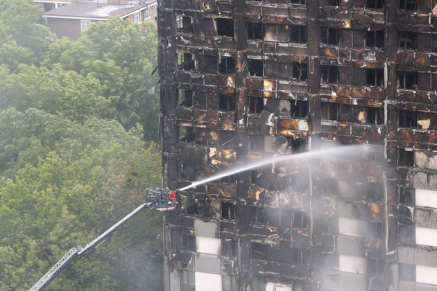 Grenfell Tower in West London after a fire engulfed the 24-storey