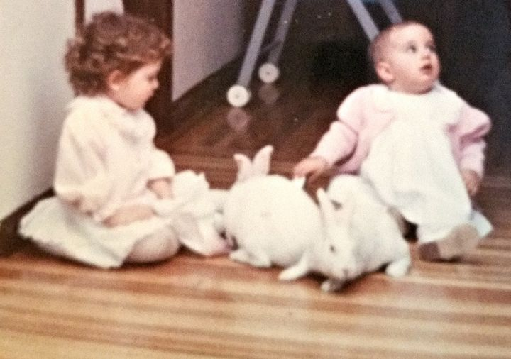 Easter, 1988. Alicia (left) and Jessica (right).