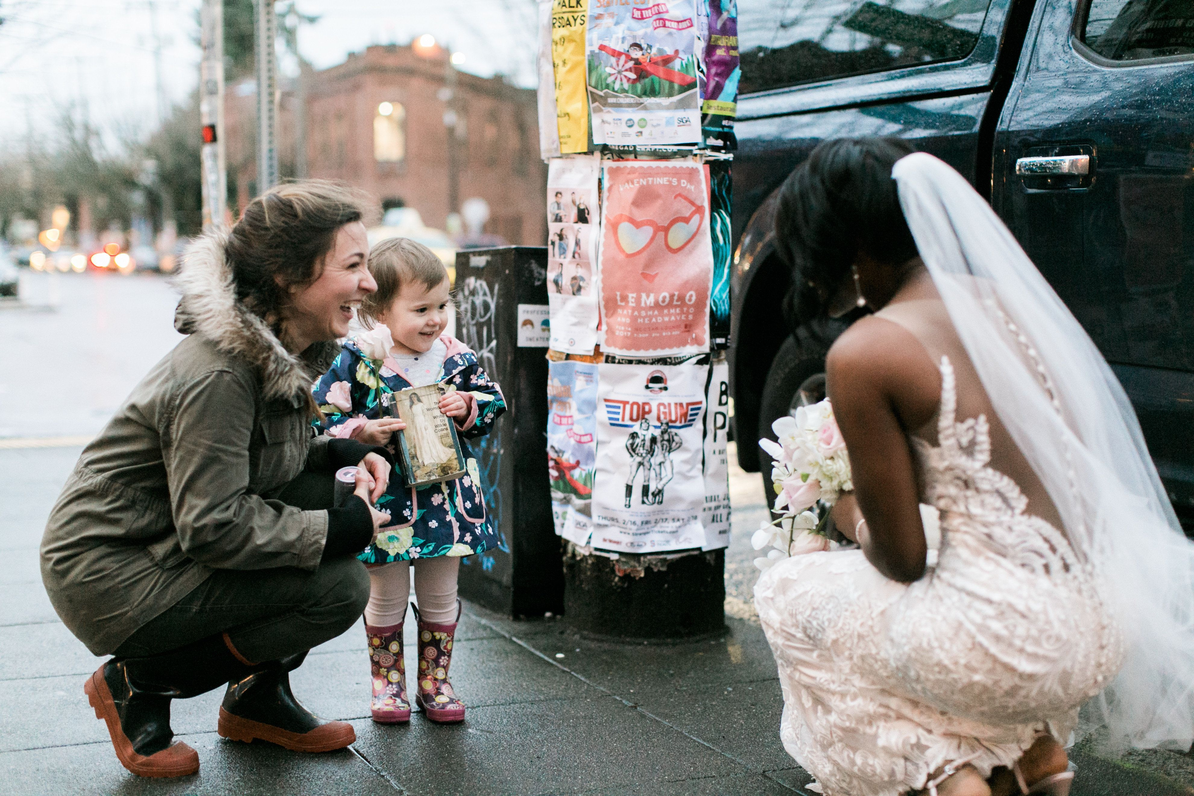 The toddler was speechless, according to the bride and groom.