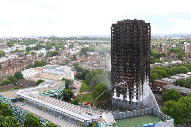 What remains of Grenfell Tower in