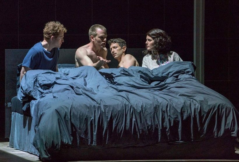 Andrew Garland, Michael Weyandt, Aaron Blake, and Sarah Beckham-Turner in a bed of difficult dreams in <strong>Angels in Amer