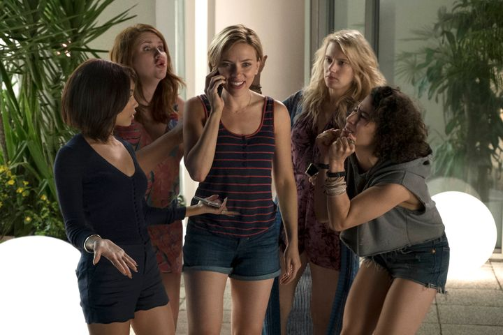 "Zoë Kravitz, Jillian Bell, Scarlett Johansson, Kate McKinnon and Ilana Glazer in ""Rough Night."""