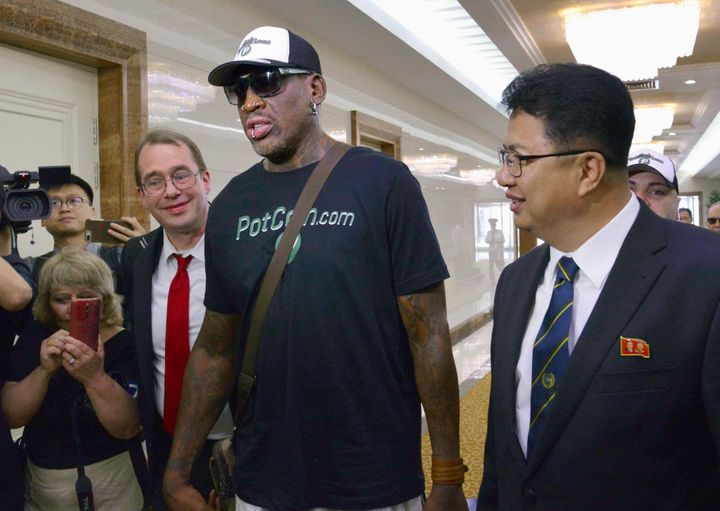 Dennis Rodman arrives at Pyongyang's international airport.