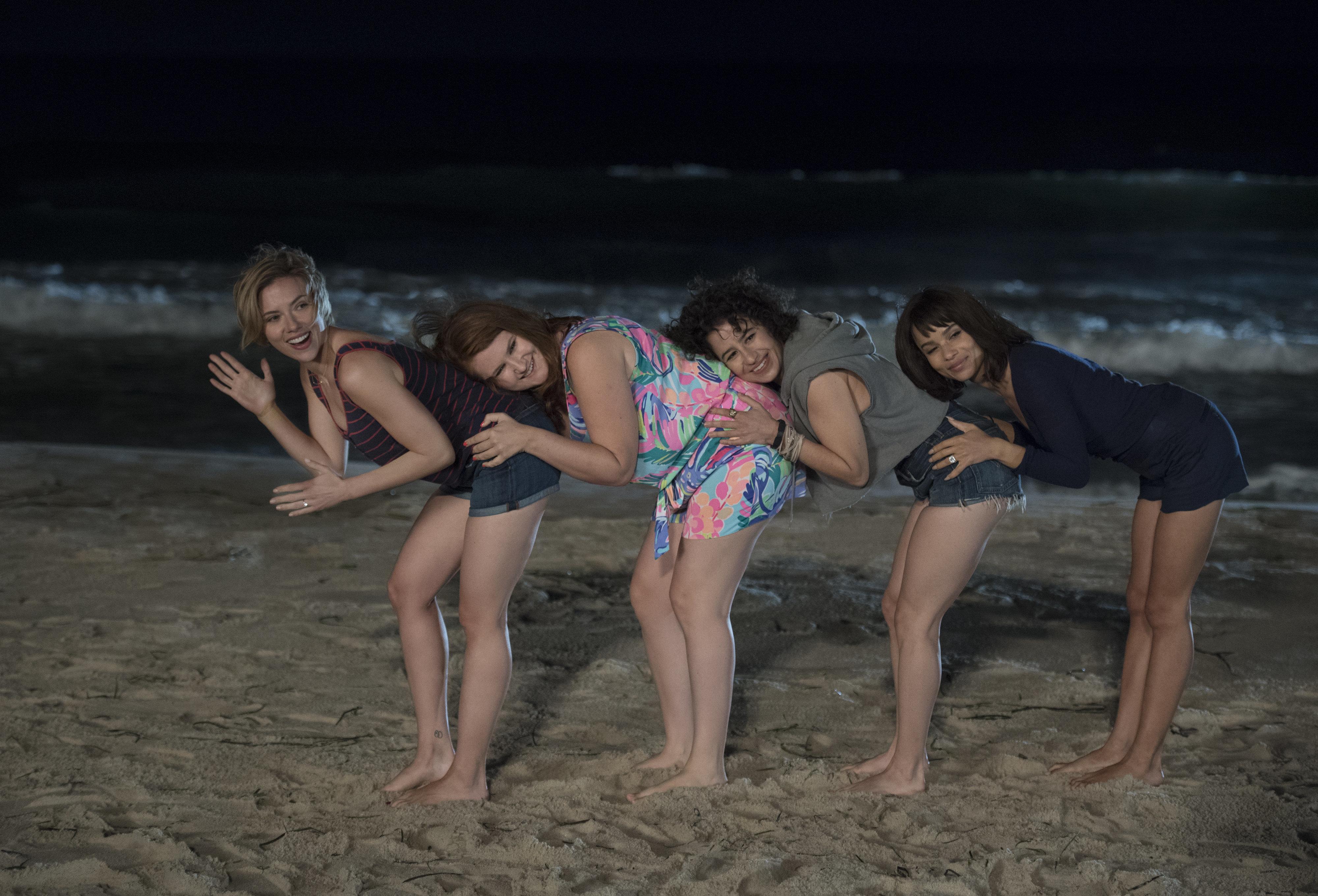 (L to R) Scarlett Johansson, Jillian Bell, Ilana Glazer, Zoe Kravitz in Columbia Pictures' ROUGH NIGHT.