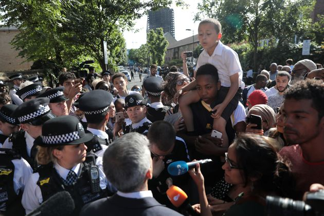 Sadiq Khan meets people near the scene of the Grenfell Tower