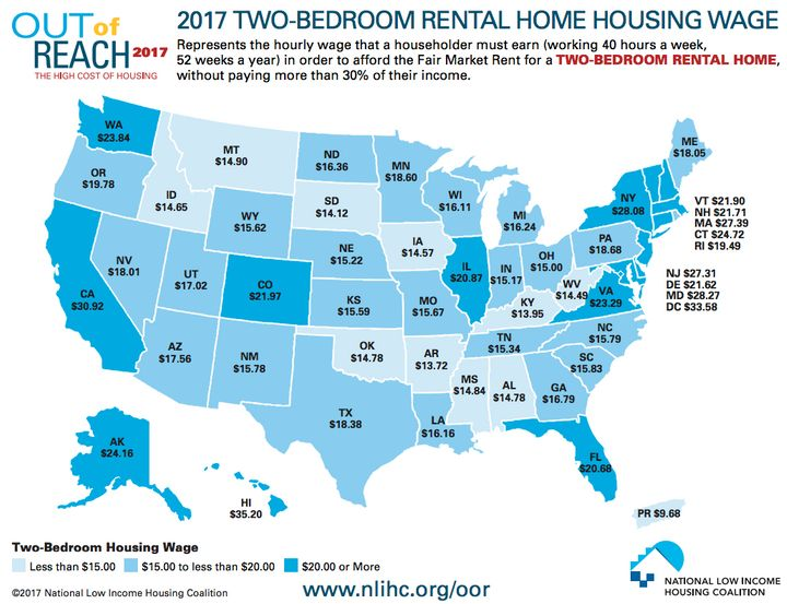 The Hourly Income You Need To Afford Rent Around The U S Huffpost