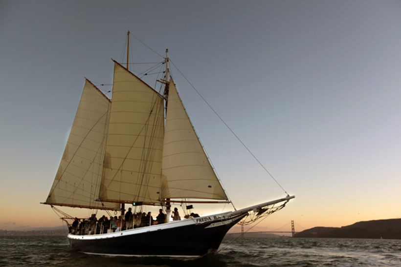 The Schooner Freda B, a historic ship based in San Francisco, is one of 25 vessels in Tacoma for the Festival of Sail June 15