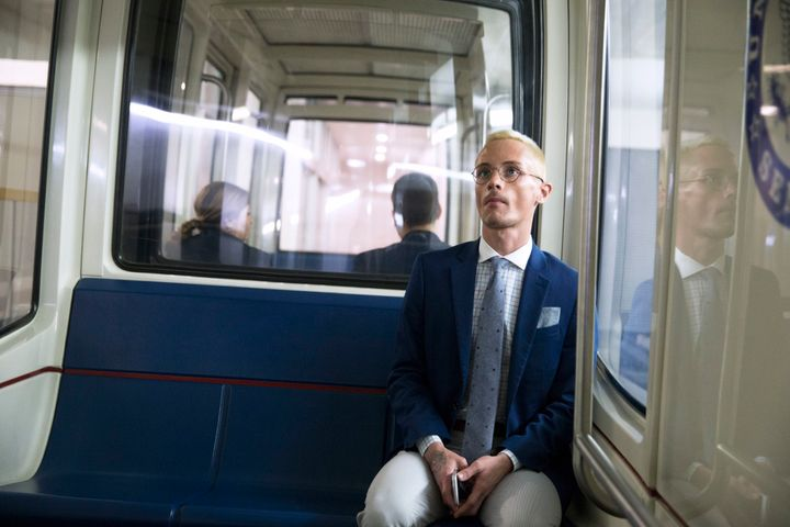 Kristopher Sharp rides on the Senate subway to a congressional hearing on Capitol Hill. After about 25 placements across Texa
