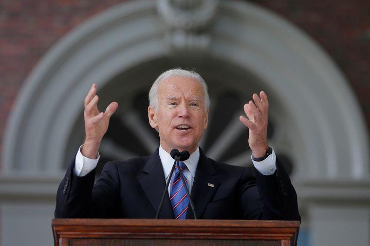 Former Vice President Joe Biden speaking at Harvard University last month.