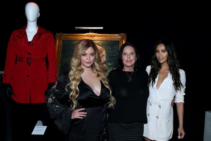 "Sasha Pieterse, I. Marlene King and Shay Mitchell attend the launch of ""Pretty Little Liars: Made Here."""