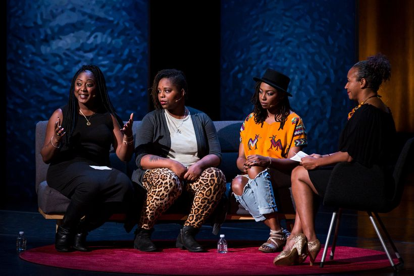 (L-R) Alicia Garza, Patrisse Cullors, and Opal Tometi, founders of the Black Lives Matter movement, are interviewed by Mia Bi