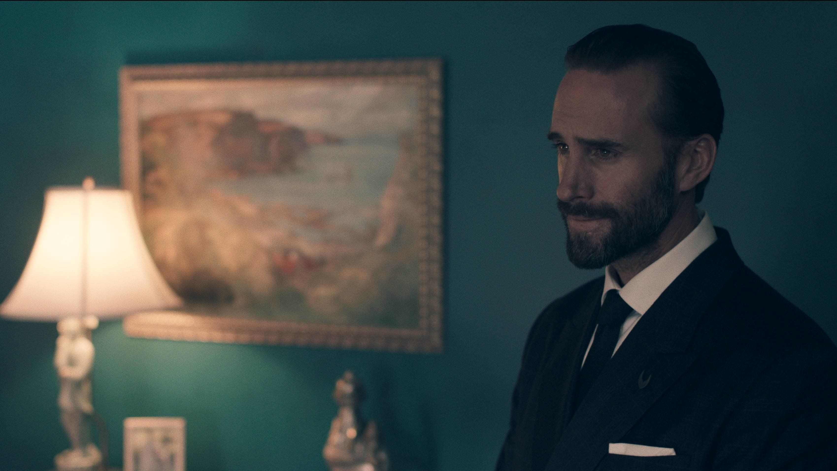 "Fiennes as Commander Fred Waterford in the first episode of ""The Handmaid's Tale."""