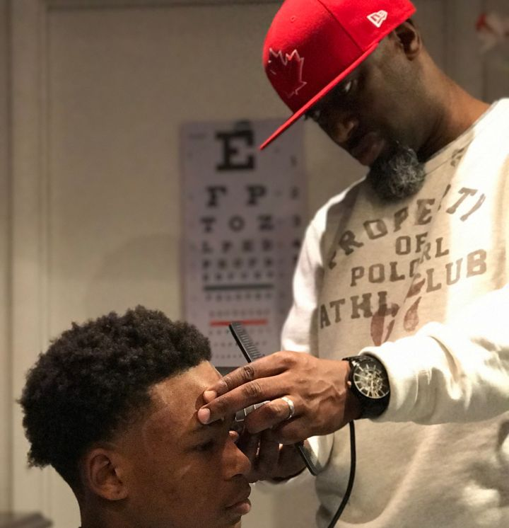 Kilpatrick does his cuts at the teen center.