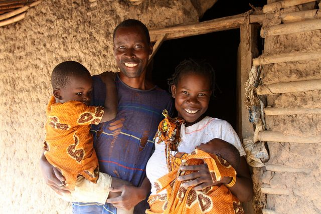 Smiling family in Mozambique
