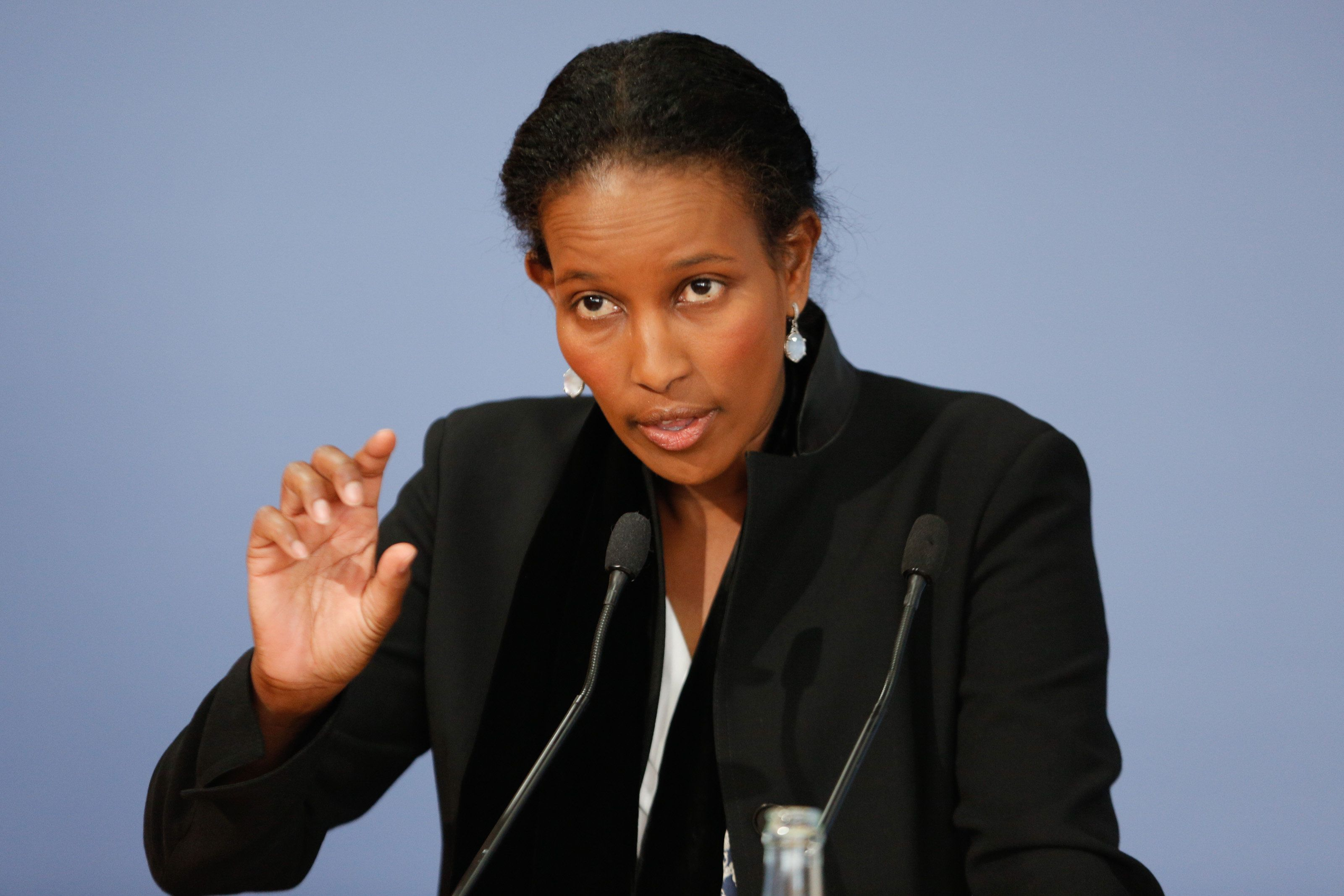 BERLIN, GERMANY - APRIL 13: Author Ayaan Hirsi Ali attends a book presentation of 'Reformiert Euch! Warum der Islam such aendern muss - Refurbished you! Why Islam must change' on April 20, 2015 in Berlin, Germany. Ayaan Hirsi Ali, born 13 November 1969, is a Somalia-born American activist, writer and politician and is known for her views critical of Islam and supportive of women's rights. (Photo by Christian Marquardt/Getty Images)